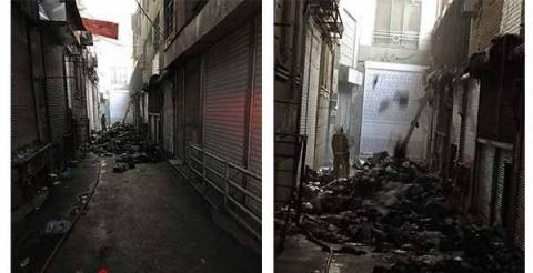 ۱۰۰ مغازه در بازار تهران در آتش سوخت!