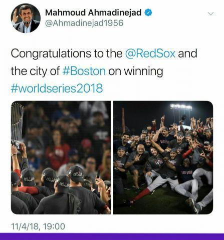 تبریک توییتری احمدی نژاد به یک تیم آمریکایی+تصویر