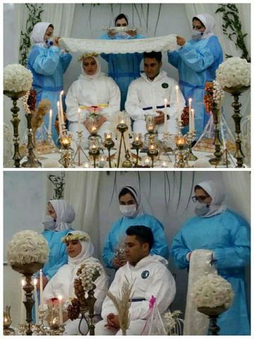 تصویری خاص از مراسم ازدواج ۲ پرستار در بیمارستان
